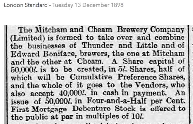 18981213 Mitcham and Cheam Brewery