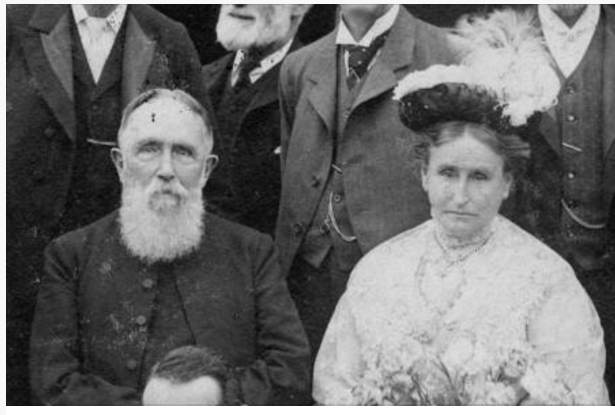 Clip of Rev Wilson and his wife from Merton Memories photo 49808 17th July 1909. Copyright London Borough of Merton.
