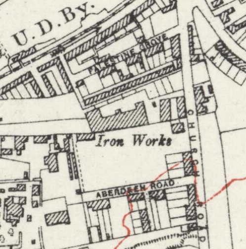 1914 Iron Works map