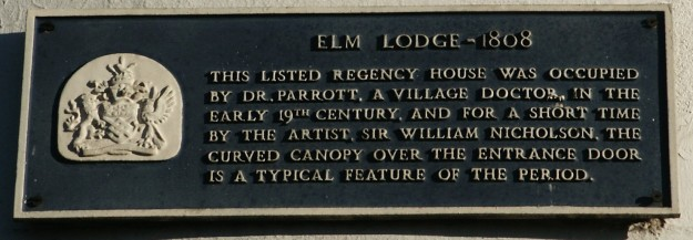 Elm Lodge blue plaque zoomed