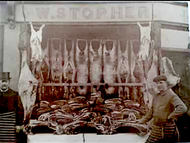 William Stopher on left, butcher, and his son David on the right, 11 Belgrave Road