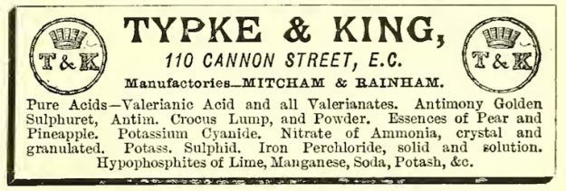 1886 Chemist and Druggist as for Typke and King