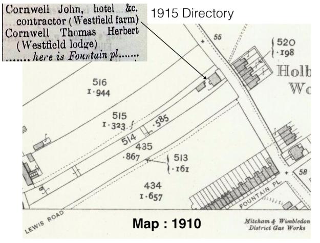 1910 Westfield Farm map