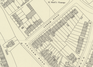 1950s map of Carew Road