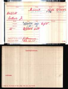 Arthur Block medal card