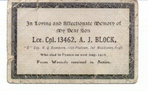 Arthur Block memorial card