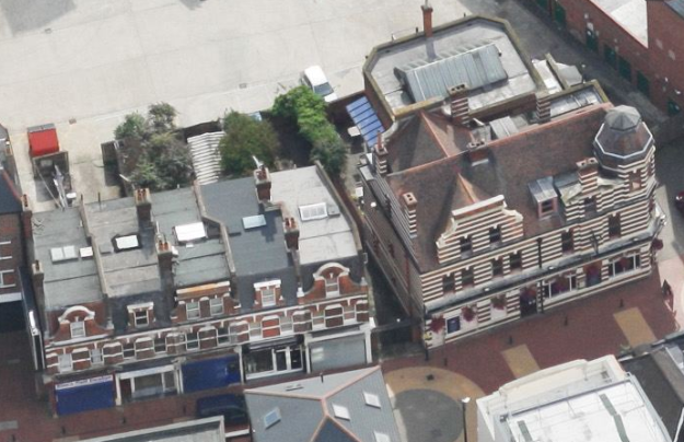Aerial view Bucks Head Parade left of the Buck Head pub