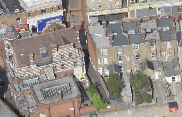 Aerial view of rear of Bucks Head Parade