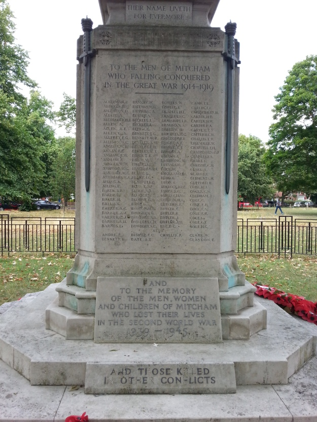 Mitcham War Memorial south side