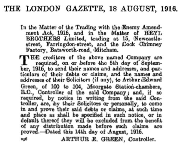 19160818 London Gazette HEYL