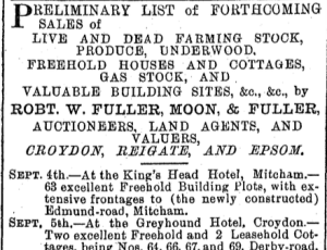 3rd Sept 1901 auction