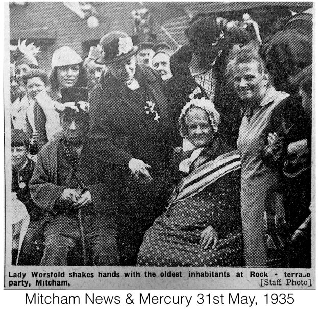 Lady Worsfold shakes hands with the oldest inhabitants at Rock-terrace party, Mitcham. From the Mitcham News & Mercury, 31st May 1935