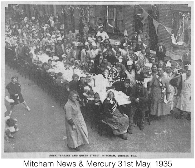 Rock Terrace and Queen Street (sic), Mitcham, Jubilee Tea. From Mitcham News & Mercury, 31st May, 1935.