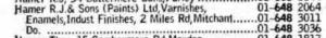 1972 phone book Hamer