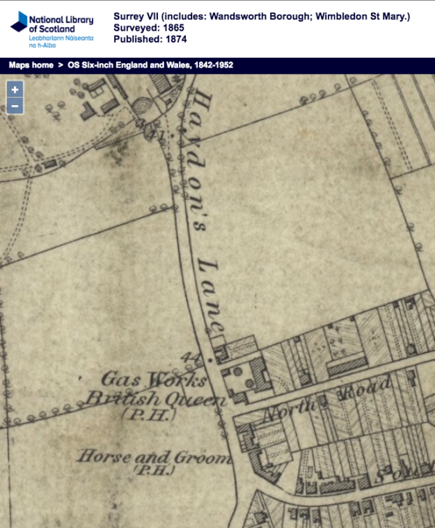 1865 OS Map of Wimbledon Gas Works