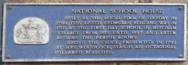 National School House Built by the local Firm of Oxtoby in 1788, this listed Georgian building was in use as the first day school in Mitcham village from 1812 until 1897 and later became the Parish Rooms. Above the clock, presented in 1792 by Mrs Woodcock, stands an octagonal pillared bellcote.