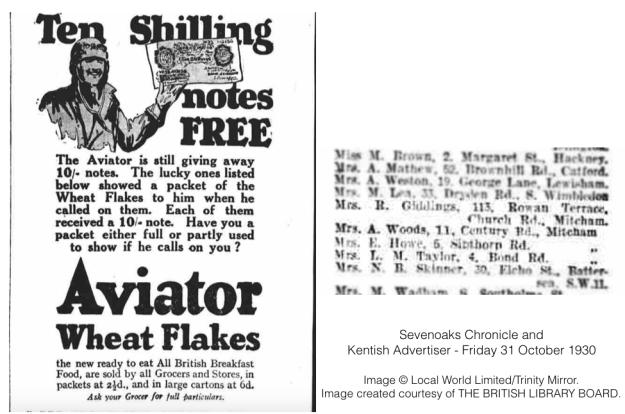 19301031 Aviator Wheat Flakes promo