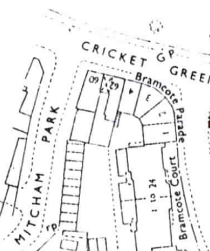 Land Registry map showing 60 and 62 Cricket Green