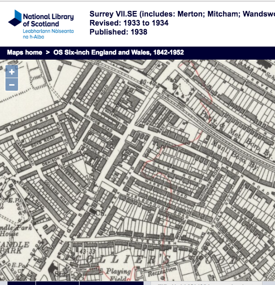 1934 OS Map - the boundary with Wandsworth Borough was just north of the bridge over the railway line, south of the junction with Blackshaw Road and Longley Road