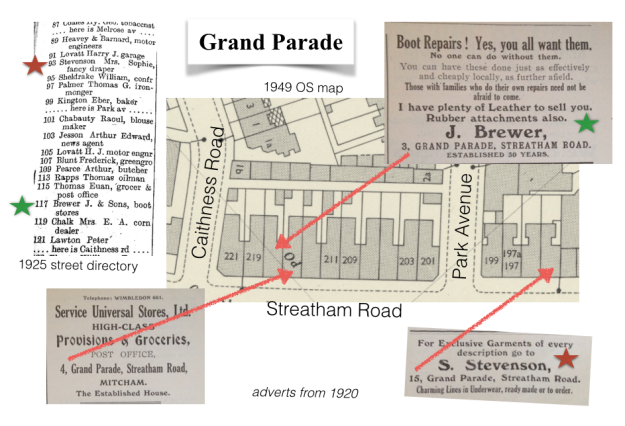1949 OS map and 1920 ads/1925 street directory