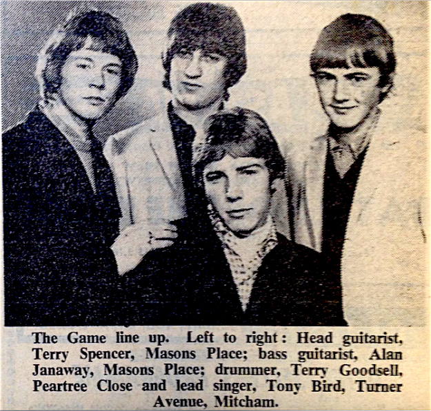The Game line up. Left to right: Head guitarist, Terry Spencer, Masons Place; bass guitarist, Alan Janaway, Masons Place; drummer, Terry Goodsell, Peartree Close and lead singer, Tony Bird, Turner Avenue, Mitcham.