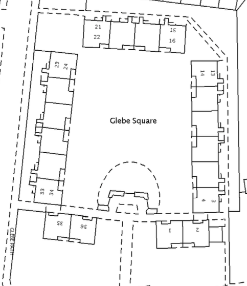 Layout of Glebe Square. Lower Green West is at the bottom of this diagram.