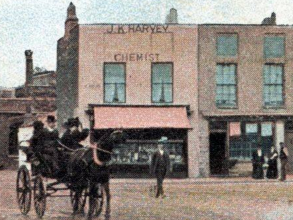 Early 1900s view of the chemist shop of J.K. Harvey in York Place, Fair Green. This clip is from Merton Memories photo 30338 (c) London Borough of Merton