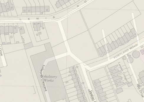 Street map of Lulworth Crescent overlaid onto Standard Upholstery factory