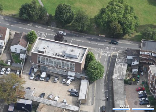 Aerial view showing rear of building. The road on the right is Mitcham Park.